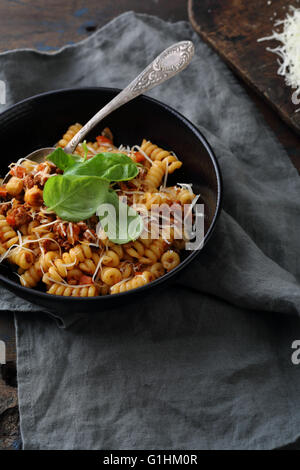 pasta with mince and basil, food italian - Stock Photo