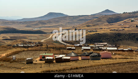 Village in the foothills of the Drakensbergs, KwaZulu Natal, South Africa - Stock Photo