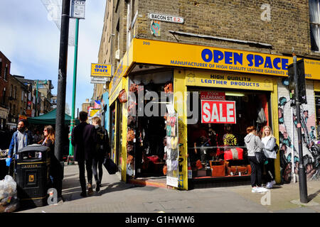 Open Space Leather goods garment shop on corner of Bacon Street and Brick Lane in East London
