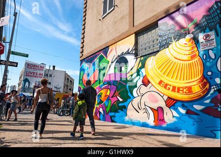 Brooklyn Bushwick neighborhood New York City Bushwick Collective Street Art Graffiti Murals - Stock Photo
