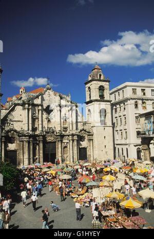 Cathedral Square, Plaza de la Catedral in Old Havana Cuba Caribbean - Stock Photo