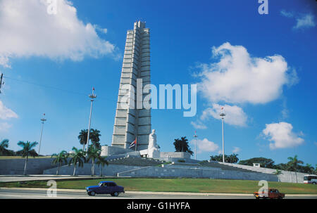 Jose Marti Memorial monument and plaza in downtown Havana in Cuba Caribbean - Stock Photo