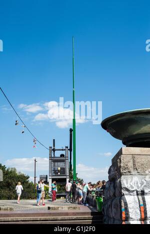The Metronome and Letna park, Prague, Czech Republic, Europe - Stock Photo