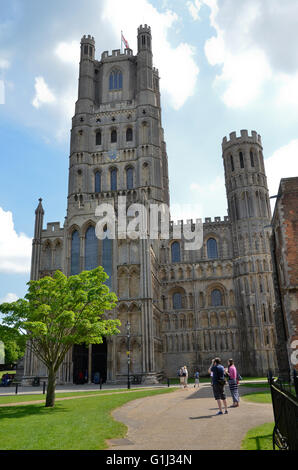 The West Tower of Ely Cathedral in Ely, Cambridgeshire, England - Stock Photo