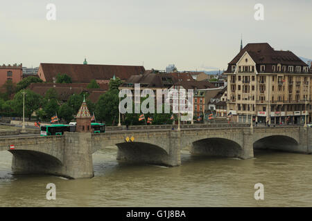 Basel, Switzerland. 16th May, 2016. Basel's preparations on its landmark stone bridge for the 2016 UEFA Europa League - Stock Photo