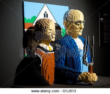 The Lego scuplture 'American Gothic' by the American artist Nathan Sawaya can be seen in the exhibition 'The Art - Stock Photo