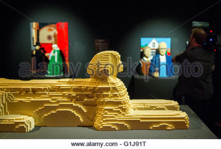 The Lego scuplture 'Great Sphinx of Giza' by the American artist Nathan Sawaya can be seen in the exhibition 'The - Stock Photo