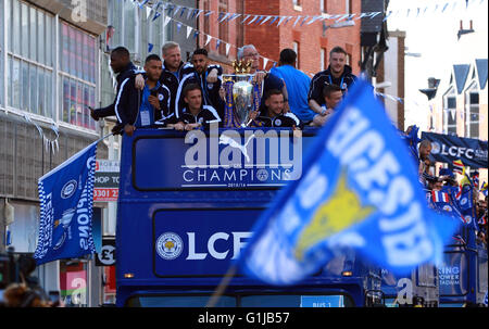 Leicester, UK. 16th May, 2016.  Leicester City celebrate winning the Premier League with an open top bus tour through - Stock Photo