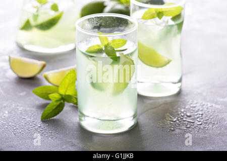 Fresh lemonade with mint and limes - Stock Photo