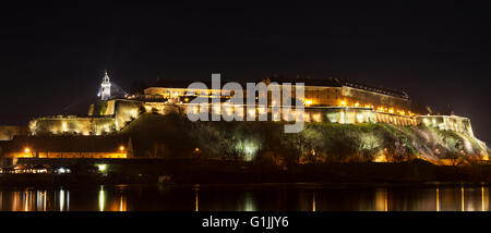 Petrovaradin Fortress from 18th century in Novi Sad, Serbia at night. HDR photo. - Stock Photo