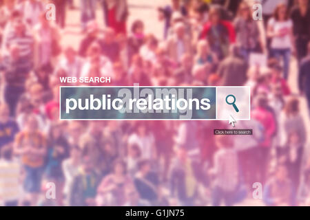 Public relations web search box on internet page. - Stock Photo