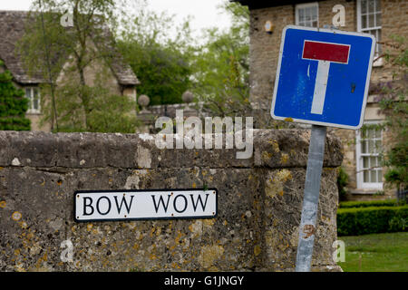 Bow Wow street sign, South Cerney village, Gloucestershire, England, UK - Stock Photo