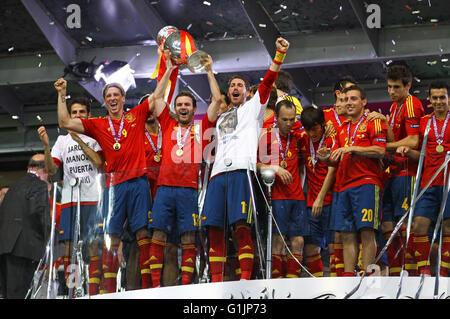 KYIV, UKRAINE - JULY 1, 2012: Players of Spain national football team celebrates their winning of the UEFA EURO - Stock Photo