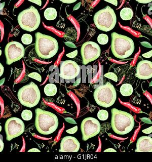 Seamless bright texture with avocado, chilly pepper, lime and spices on black background - Stock Photo