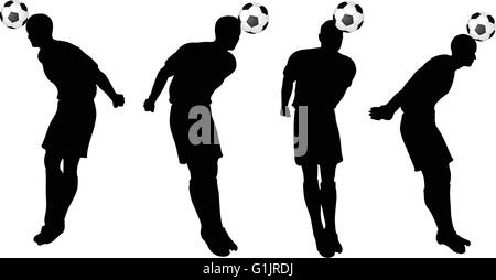 digital background vector isolated poses of soccer players silhouettes in head strike position stock photo