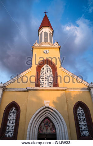 Notre Dame Cathedral (French: Cathédrale de Papeete Notre-Dame de L'Immaculée Conception) in Papeete - French Polynesia - Stock Photo