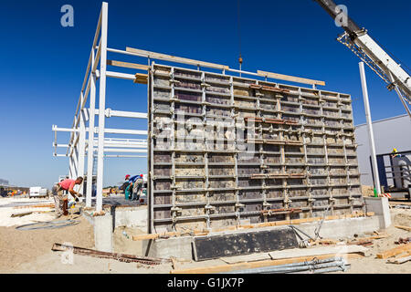 View on building site until preparing huge mold for concreting. - Stock Photo