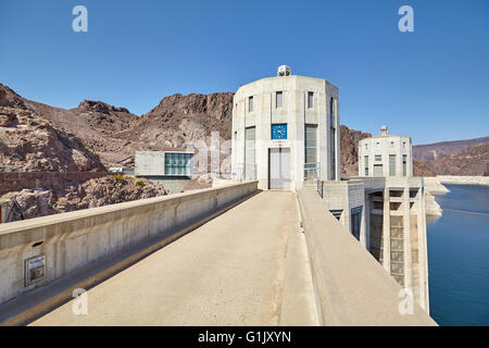 Wide angle picture of the Hoover Dam water intake towers, USA. - Stock Photo