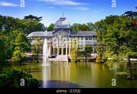 Crystal Palace, Palacio de cristal in Retiro Park,Madrid, Spain. - Stock Photo