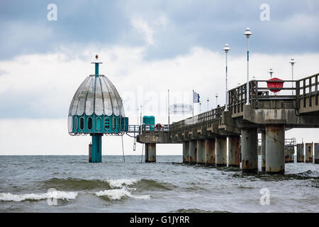 The pier in Zinnowitz on the island Usedom (Germany) - Stock Photo
