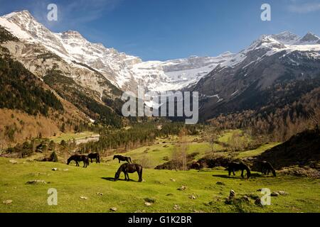A colour image of the Cirque de Gavarnie in the Midi Pyrenees - Stock Photo