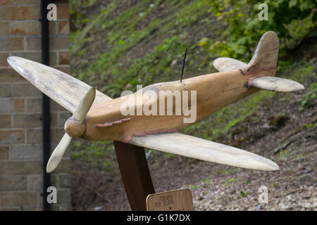Wooden rough hand-made spitfire model, Haworth, Yorkshire, UK - Stock Photo