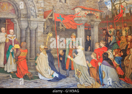 Thierry of Alsace offering the relic of the Precious Blood (1150) on a mural painting  inside the town hall in Bruges, - Stock Photo