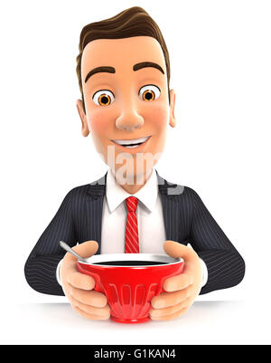 3d businessman drinking a cup of coffee, isolated white background - Stock Photo