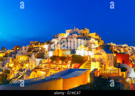 Oia at night, Santorini, Greece - Stock Photo