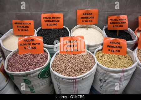Sacks of various grains for bulk sale in a mexican market. Mexico. - Stock Photo