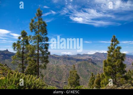 Gran Canaria, view towards Roque Bentayga from north lip of the caldera - Stock Photo