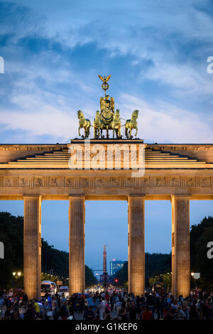 Berlin. Germany. The Brandenburg Gate lit up at night. - Stock Photo