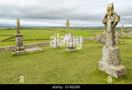Irish High Crosses with Celtic motifs at the Rock of Cashel, a.k.a. the Kings & St. Patrick's Rock, Cashel, Tipperary, - Stock Photo