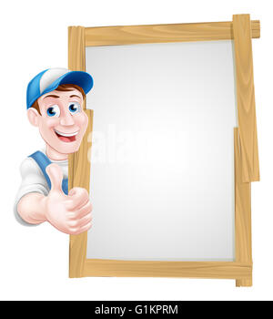 A cartoon mechanic, plumber, handyman, decorator or gardener leaning around a sign board and giving a thumbs up - Stock Photo