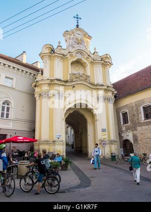 Vilnius, Lithuania - August 16, 2013. Gate Basilian monastery in the Old Town in Vilnius - Stock Photo