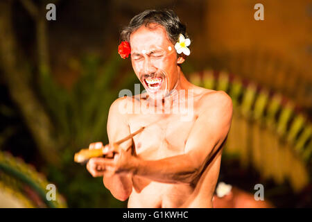 UBUD, BALI, INDONESIA - SEP 5, 2014: A traditional Balinese show in the centre of Ubud, Bali, Indonesia - Stock Photo