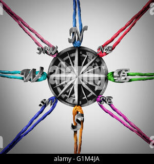 Pulling in different directions business concept as a compass being pulled by a group of ropes as a metaphor for - Stock Photo