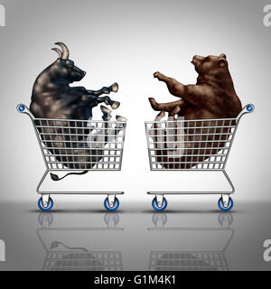 Stock market shopping and trading decision financial concept as a bear and a bull inside a shop cart as an investing - Stock Photo
