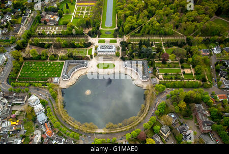 Aerial view, Schloss Benrath Castle with pond and palace gardens, Benrather Schlossallee, Dusseldorf, Rhineland, - Stock Photo
