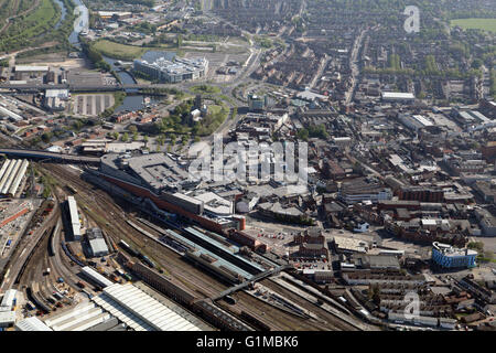 aerial view of Doncaster town centre, South Yorkshire, UK - Stock Photo