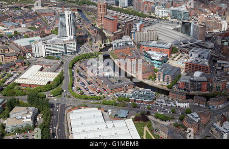 aerial view of south Leeds along the River Aire including Asda HQ, UK - Stock Photo