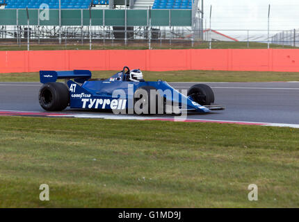Mike Cantillon driving a 1980, Tyrrell 010 historic formula one car,  during the Silverstone Classic Media Test - Stock Photo