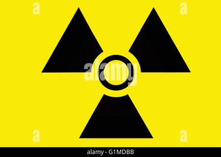 Radiation or radioactivity warning icon or symbol - Stock Photo