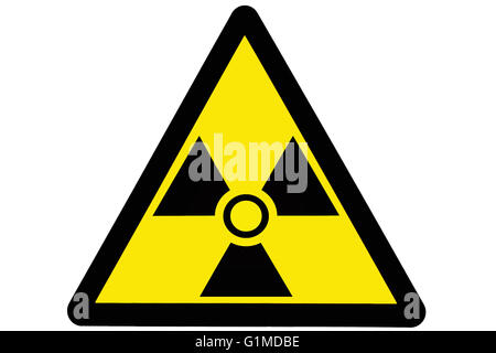 Triangular shaped radiation warning sign - Stock Photo