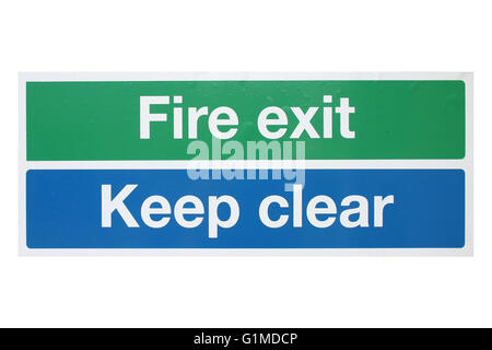 Fire exit and keep clear sing in green, blue and white isolated - Stock Photo