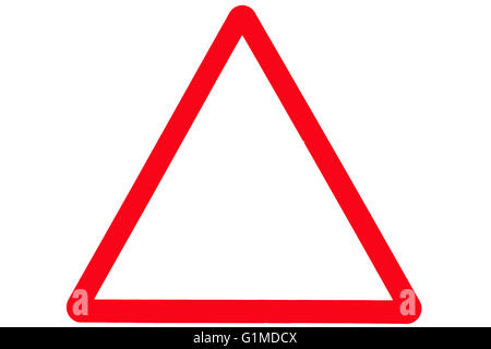 An empty triangle or triangular road or street sign with a red border. - Stock Photo