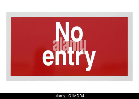A red rectangular no entry sign with white writing. - Stock Photo