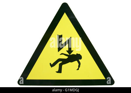 A triangular warning or information sign in yellow and black isolated on white depicting death by electric shock - Stock Photo