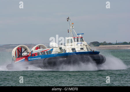 Freedom 90 approaching Portsmouth & Southsea Hovercraft Terminal, UK on the 17th May 2016. - Stock Photo