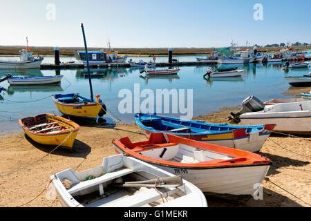 Santa Luzia, fishing village on the lagoon near Tavira, Eastern Algarve, Portugal - Stock Photo